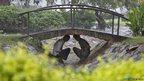 Men take shelter under a foot bridge in a park during a rain shower
