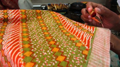 Batik cloth being made at Bin House