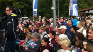 Crowds gather at the Kelvingrove Museum for the start of the Olympic parade