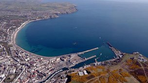 Aerial shot of Douglas, Isle of Man