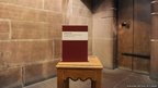 A copy of the report delivered by the Hillsborough Independent Panel is displayed at a press conference at Liverpool's Anglican Cathedral
