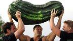 Weightlifter Jonathan Walker lifts a giant marrow