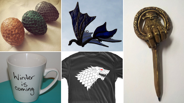 "(clockwise) ornamental eggs, dragon sun catcher, ornamental pin, t-shirt detail, mug with slogan ""Winter is coming"" (Images: Etsy)"