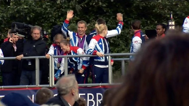 Sir Chris Hoy and Team GB Olympians and Paralympians leave Kelvingrove