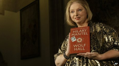 Winner of the 2009 Booker Prize for fiction Hilary Mantel with her book Wolf Hall