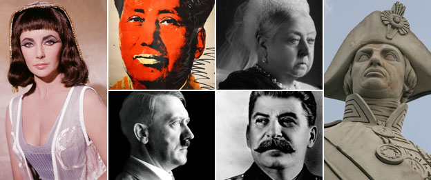 Clockwise from left: Cleopatra, Mao, Queen Victoria, Nelson, Stalin and Hitler