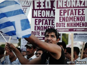 Protesters march in central Athens