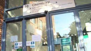 Closed doors of University of Southampton chemistry labs
