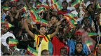 Ethiopian supporters wave flags during the 2013 African Cup of Nations second round qualifying football match between Sudan and Ethiopia in Omdurman, Sudan - Saturday 8 September 2012