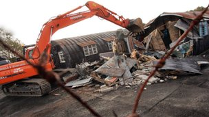 Demolition at the Maze prison site