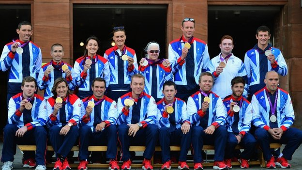 Olympians have their picture taken prior to the Scottish Olympic Parade 
