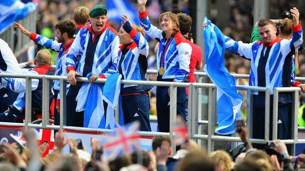The crowds lined the route to cheer on Scotland's Olympians and Paralympians