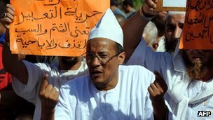 Algerian Ali Belhadj, former deputy of the outlawed Islamic Salvation Front (FIS), addresses a protest against an amateur film mocking Islam in Algiers on September 14, 2012