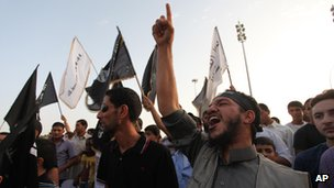 Islamist protesters chant in Benghazi, Libya on 14 September 2012