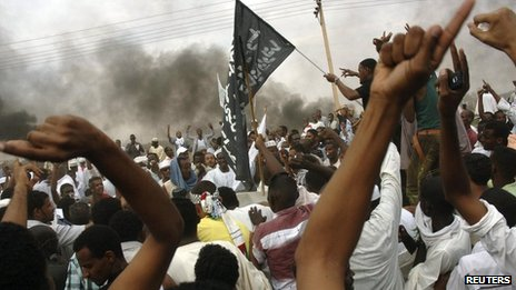Sudanese demonstrators outside the US embassy in Khartoum September 14, 2012