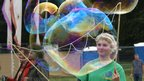 Georgia Thomas-Parr shows off her bubble making skills