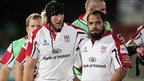 Stephen Ferris celebrates with John Afoa after Ulster&#039;s narrow 20-19 win over Munster