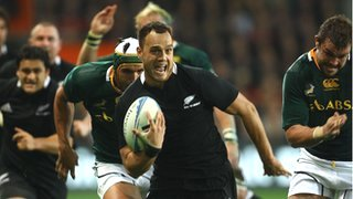 New Zealand full-back Israel Dagg races for the line against South Africa