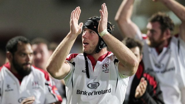Stephen Ferris celebrates Ulster&#039;s victory over Munster 