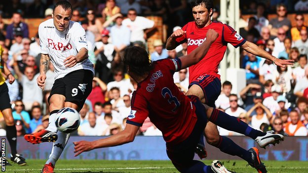 Dimitar Berbatov slots in his first Fulham goal