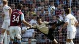 Matthew Lowton's swerving shot beats Swansea keeper Michel Vorm