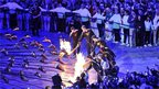 The seven athletes light the Olympic cauldron