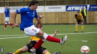 Francisco Sandaza has a shot for Rangers against Annan Athletic