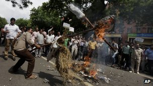 Activists from the opposition BJP party protest against the hike in the price of diesel fuel in Delhi. Photo: 15 September 2012