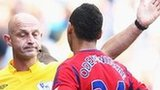 Peter Odemwingie is dismissed by referee Roger East