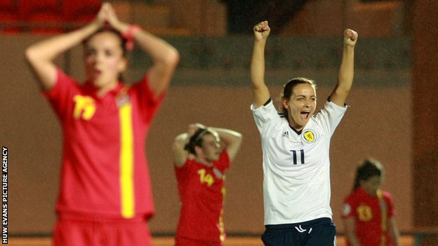 Suzanne Grant celebrates Scotland's win at the final whistle