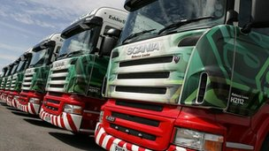 Fleet of Eddie Stobart trucks