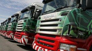 Fleet of Eddie Stobart trucks