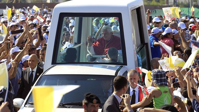 Pope in popemobile
