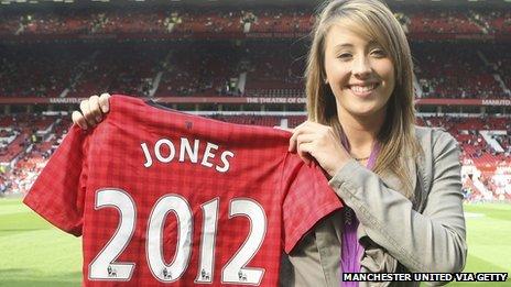 Jade Jones with her Manchester United shirt
