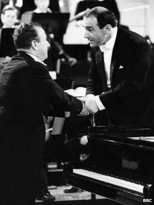 George Hurst (right) with pianist Claudio Arrau