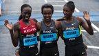 Lorna Kiplagat, Tirunesh Dibaba and Tiki Galena