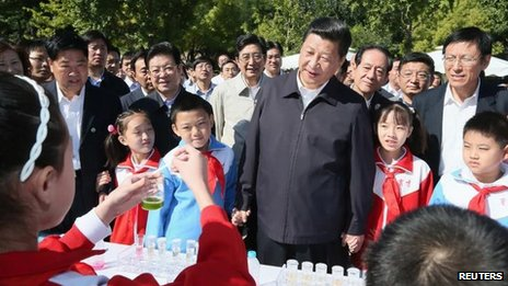Photo from Xinhua of Xi Jinping at the China Agricultural University in Beijing on 15 September, 2012