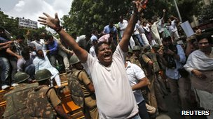 "A supporter of India""s main opposition Hindu nationalist Bharatiya Janata Party (BJP) shouts anti-government slogans during a protest against rise in fuel prices and Foreign Direct Investment (FDI) in New Delhi September 15, 2012."