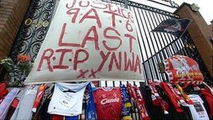 Tributes at the Hillsborough Memorial at Anfield