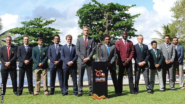 The 10 team captains with the ICC World Twenty20 trophy