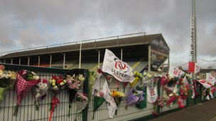 Flowers and tributes have been left at Ravenhill rugby ground