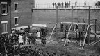 Conspirators' bodies hang from gallows