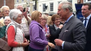 The Prince of Wales on a walkabout in Ludlow