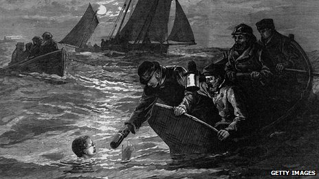 Captain Matthew Webb, receiving a hot drink from a support boat during his first unsuccessful attempt