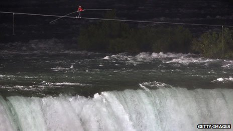 Nik Wallenda walks a tightrope over Niagara Falls, 2012