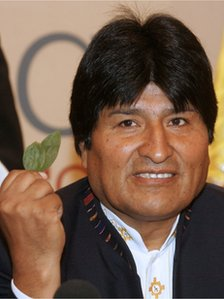 President Evo Morales holding coca leaves (file image)