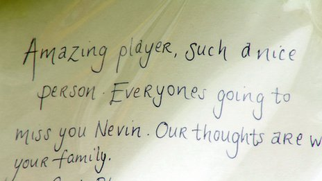 Message in book reads 'Amazing player, such a nice person. Everyone's going to miss you Nevin. Our thoughts are with your family'
