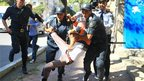 Man detained by police outside US embassy in Baku, Azerbaijan (17 Sept 2012)