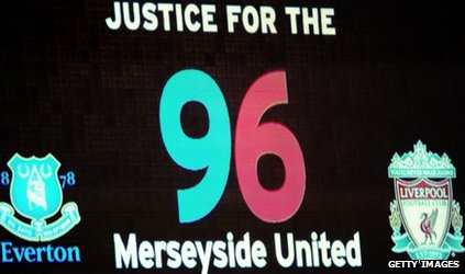 """screen showing """"justice for the 96 Merseyside United"""""""