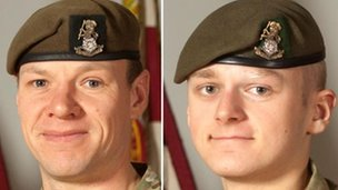 Sgt Gareth Thursby (left) and Pte Thomas Wroe, who died on 15 September 2012 while on active service in Helmand province, Afghanistan